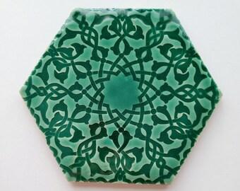 Green Moroccan Tiles - Kitchen Backsplash Tiles - Emerald Tiles - Bathroom Tiles - Hand Painted Tiles - Kitchen Remodel - Patio Tiles