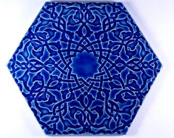 Blue Moroccan Tiles - Kitchen Backsplash Tiles - Cobalt Blue Tiles - Bathroom Tiles - Hand Painted Tiles - Stoneware Tiles - Patio Tiles