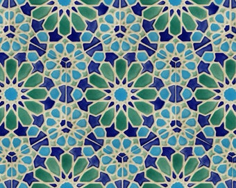 Hand Painted Tiles - Moroccan Tiles - Patio Tiles - Blue and Green Tiles - Kitchen Backsplash - Decorative Tiles - Pastel Stoneware
