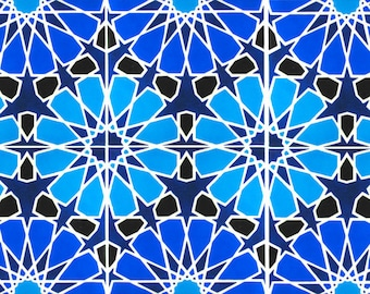 Hand Painted Moroccan Tiles - Ceramic Accent Tiles - Kitchen Backsplash Tiles - Decorative Tiles - Moroccan Coasters - Turquoise and Cobalt