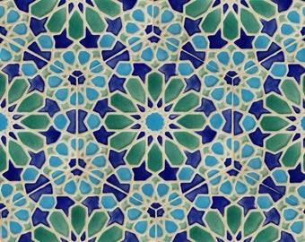 Kitchen Backsplash Tiles - Moroccan Tiles - Bathroom Tiles - Hand Painted Tiles - Kitchen Remodel - Blue and Green Tiles - Moroccan Style