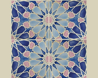 Hand Painted Moroccan Tiles -Kitchen Backsplash Tiles - Bathroom Tiles - Ceramic Accent Tiles - Decorative Tiles - Moroccan Coasters