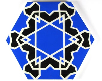 Hand Painted Moroccan Tiles -Star of David Tiles - Ceramic Tiles - Moroccan Coasters - Kitchen Tiles - Decorative Tiles - Backsplash