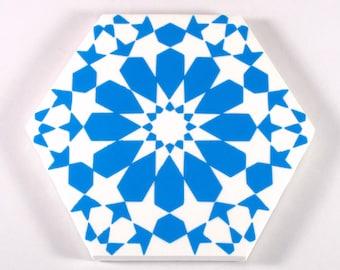 Hand Painted Moroccan Tiles - Blue and White Ceramic Tiles - Decorative Tiles - Backsplash Tiles - Kitchen Tiles - Turquoise Tiles- Coasters