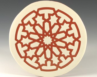 Terracotta Trivet - Art Tile - Moroccan Tile - Terracotta Tile - Handmade Tile - Decorative Tile Art - Hot Plate - Round Trivet