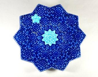 Starburst Serving Tray - Cobalt and Turquoise Ceramic Platter - Porcelain Fruit Plate - Moroccan Platter - Mandala Platter - Geometric Plate