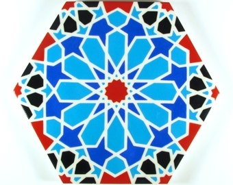 Hand Painted Moroccan Tiles - Backsplash Tiles - Kitchen Tiles -Decorative Tiles - Ceramic Tiles - Blue and White Ceramic Accent Tiles -