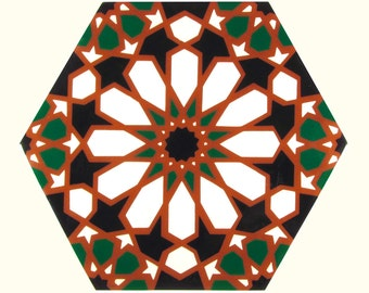 Hand Painted Moroccan Tiles - Terracotta Ceramic Accent Tiles - Decorative Tiles  - Backsplash Tiles - Kitchen Tiles - Ceramic Tiles