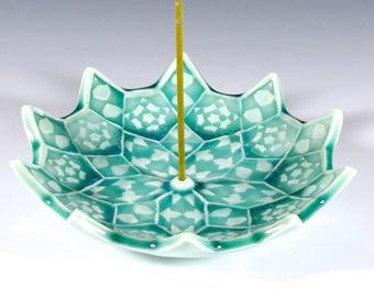Ceramic Incense Burner - Lotus Bloom Incense Holder - Japanese Incense Holder - Heart Chakra Meditation Aid  - Mandala - Sacred Geometry