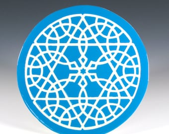 Star of David Trivet - Turquoise and White Ceramic Trivet - Tile Trivet - Moroccan Hot Plate