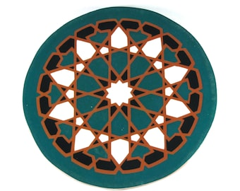 Starburst Mandala Tile Trivet - Terracotta Trivet - Hot Plate - Moroccan Tile Trivet - Decorative Tile - Art Tile - Wall Tile - Accent Tile