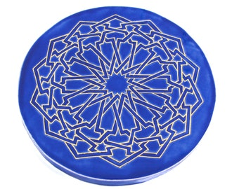 Third Eye Mandala - Blue and Gold Trivet - Moroccan Tile Trivet - Meditation Art - Sacred Geometry Mandala - Art Tile - Yoga Art