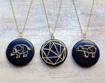 Origami Brass black Locket geometric You have the Choice
