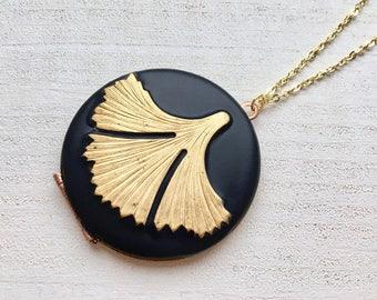 Ginkgo Biloba leaf brass black pendant handmade Locket peace