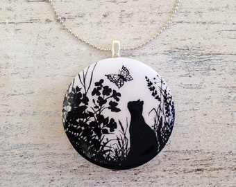 cat vintage handmade papercut wooden pendant necklace