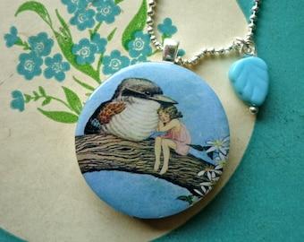 handmade fairyland bird with elf tree pendant necklace Vintage