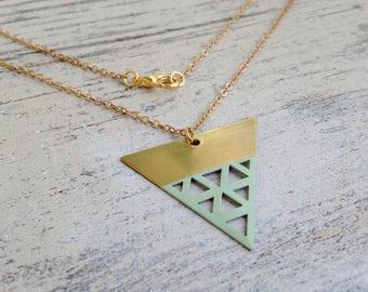 Mint Triangle Brass Pendant Necklace