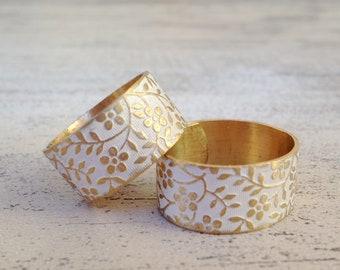 raw brass floral leaf white flower ring adjustable