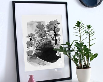 Kyoto Japan A3 print, black and white wall art, a3 poster, art print, Kyoto Imperial Gardens, Japan inspired