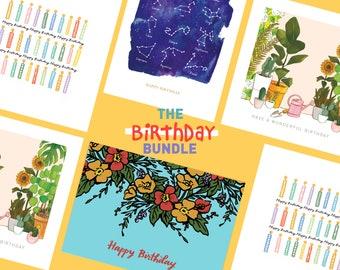 Birthday card bundle, multipack of birthday cards, birthday cards, KatieMoodyArt