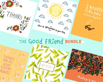 Cards for friends, thinking of you cards, card bundle, multipack of cards, KatieMoodyArt