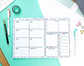 Weekly planner, gifts for stationery lovers, A4 notepad, rainbow stationery, colourful stocking filler, tear off deskpad, FREE SHIPPING