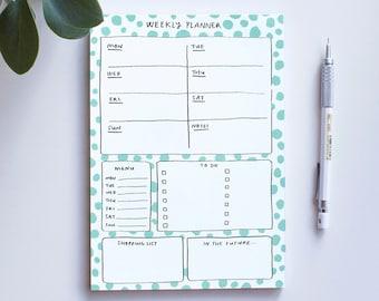 Weekly planner, A5 notepad, tear off deskpad, cute stationery, tear off memo pad