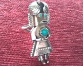 SALE Vintage Sterling Kachina with Turquoise Navajo Native American Elongated Ring Size 6 1 2 Hallmarked Orville Manygoats