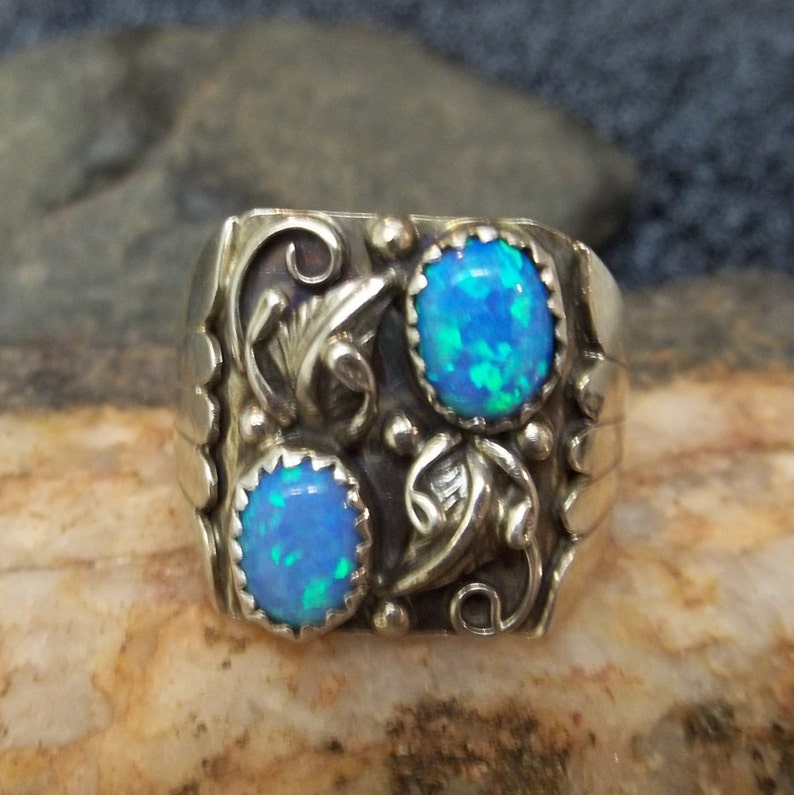 Fine Rings Southwestern White Opal Ring Vintage Style 925 Sterling Silver Size 9