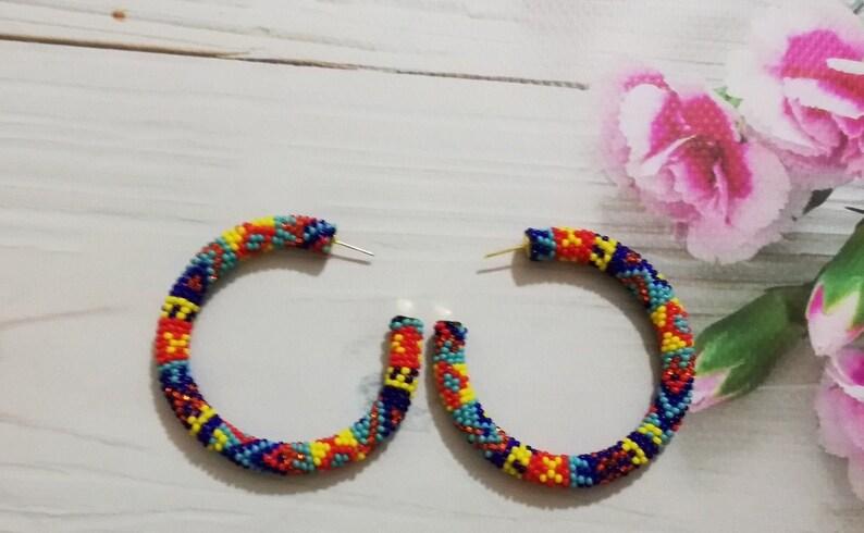 Hoop Earrings  Colorful Beaded hoop earrings  Ethnic striped earrings stud  Native American Hoop Earrings  Big beaded Hoop earrings