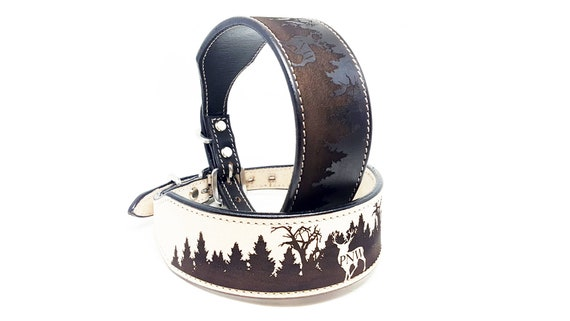 Custom Name Engraved 1 12 Wide Hand Tooled MadcoW Western Leather K9 Dog Collar Handmade Fully Adjustable
