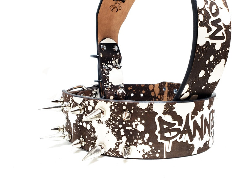 Yellow Splatter Paint Custom Name Engraved MadcoW Urban Design Spikes Leather K9 Dog Collar Handmade Fully Adjustable Heavy Duty
