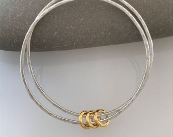 Handmade double silver bangle Silver bangle with gold rings Hammered silver bangle Hammered bangle with gold rings