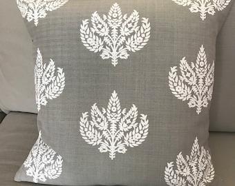 Grey linen/cotton cushion, Paisley cushion, Handmade cushion