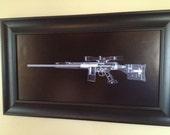 PSG-1 Sniper rifle CAT scan gun print - ready to frame