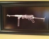 MP40 submachinegun  CAT scan gun print - ready to frame