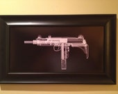 Uzi CAT scan gun print - ready to frame