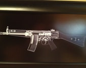 HK 53 rifle CAT scan gun print - ready to frame