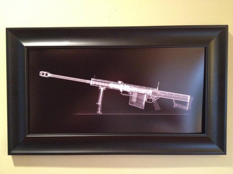 Barrett M82 Sniper rifle CAT scan gun print  ready to frame image 0