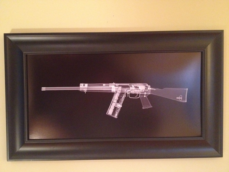 SAIGA 12  CAT scan gun print  ready to frame image 0