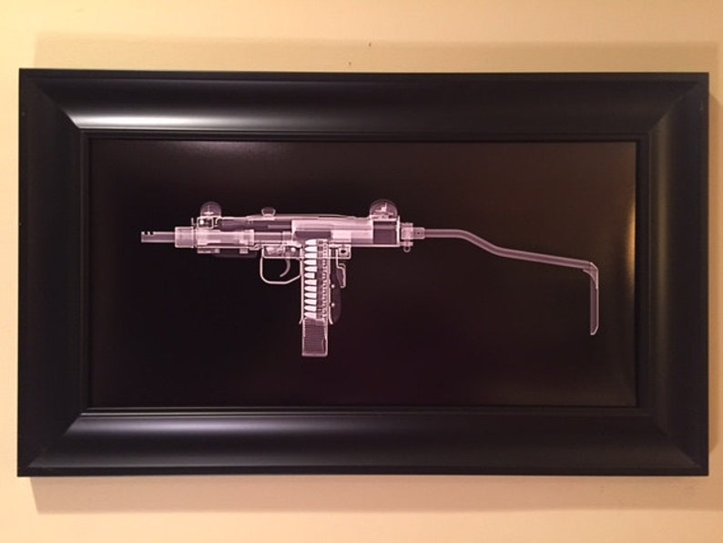 Mini Uzi CAT scan gun print  ready to frame image 0