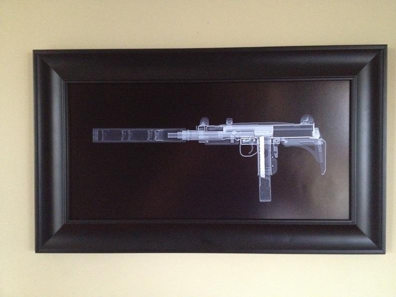 Uzi with Silencer CAT scan gun print - ready to frame