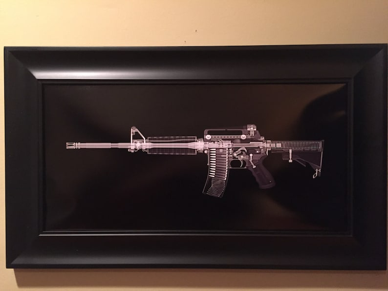 AR15  CAT scan gun print  ready to frame image 0