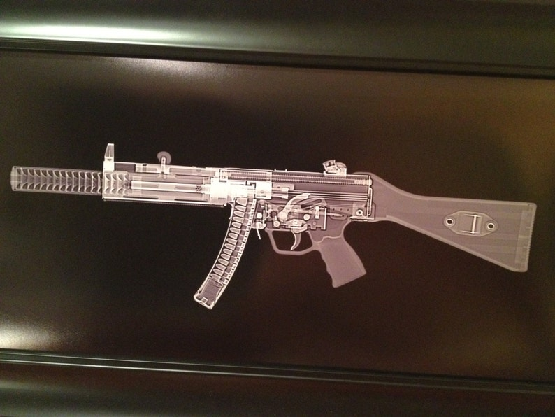 MP5 SD Submachine gun CAT scan gun print  ready to frame image 0