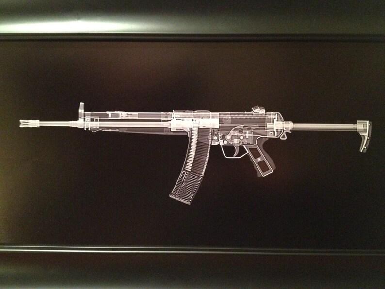 HK 33 rifle CAT scan gun print  ready to frame image 0