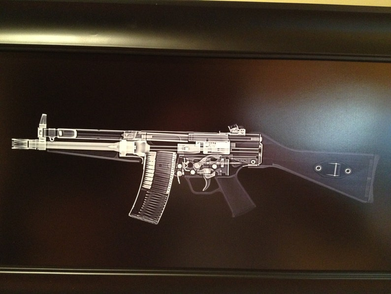 HK 53 rifle CAT scan gun print  ready to frame image 0