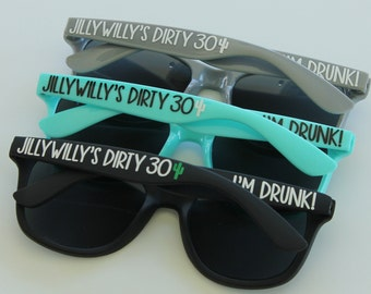 71460cc154 Personalized Sunglasses - Dirty Thirty - 30th Birthday - Birthday Sunglasses