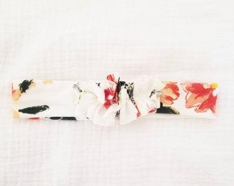White flat ruffle  headband