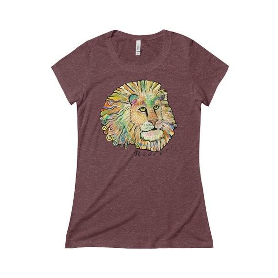 Womens Lion T-shirt Rainbow lion Shirt