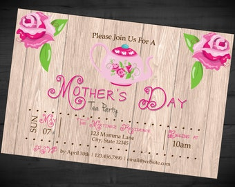 mothers day tea party invitation mothers day breakfast lunch brunch invite printed or printable shipping included 4x6
